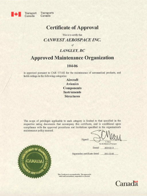 Download CanWest Aerospace AMO Certificate