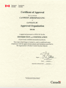 Download CanWest Aerospace AWM Certificate