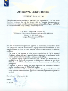 Download CanWest Aerospace EASA Certificate